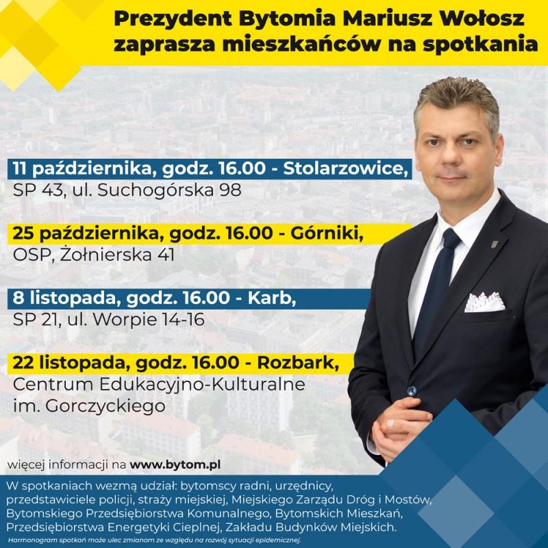 Prezydent Mariusz Wołosz zaprasza mieszkańców na spotkania w Stolarzowicach i Górnikachhttps://www.bytom.pl/aktualnosci/index/Prezydent-Mariusz-Wolosz-zaprasza-mieszkancow-na-spotkania-w-dzielnicach/idn:35903